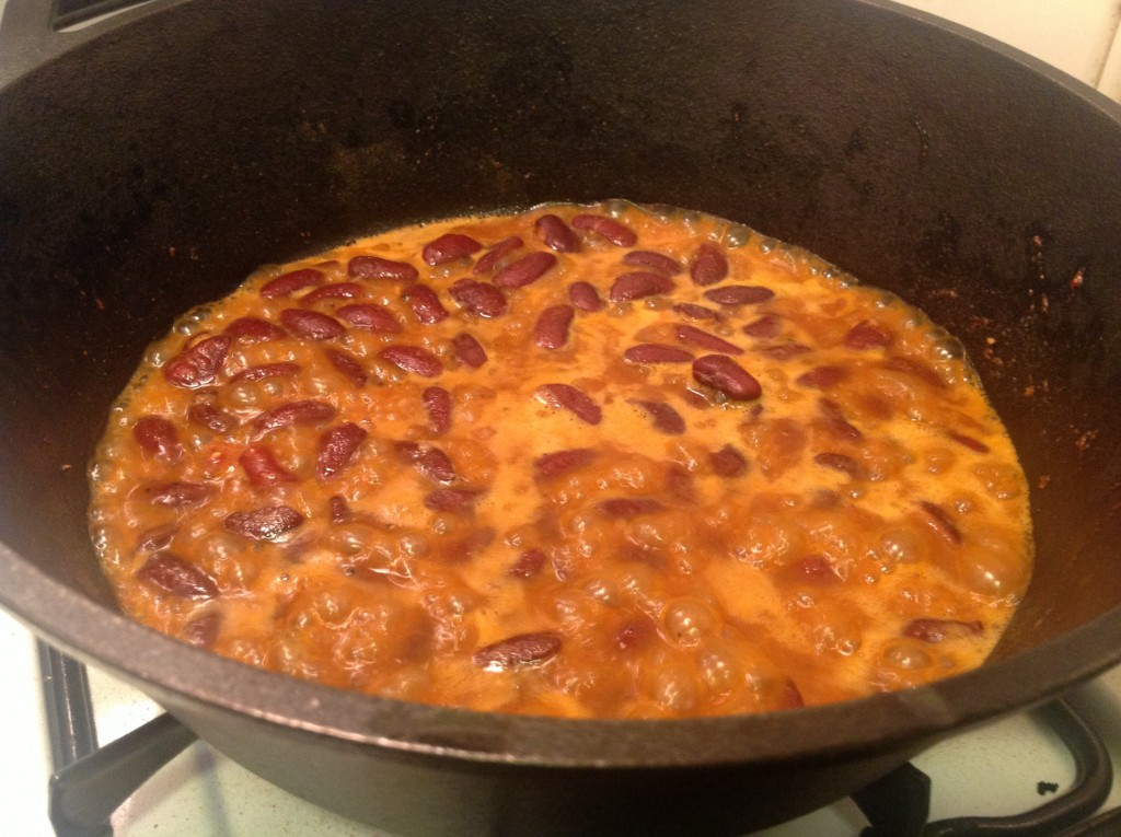 Red Beans Simmering in Smokey Sauce