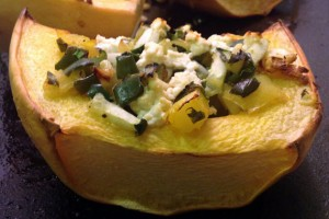 Roasted Vegetable Stuffed Spaghetti Squash with Goat Cheese