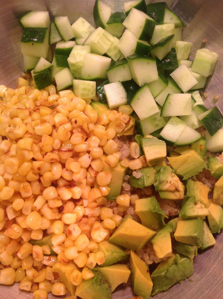 Corn, Quinoa, Cucumber and Avocado