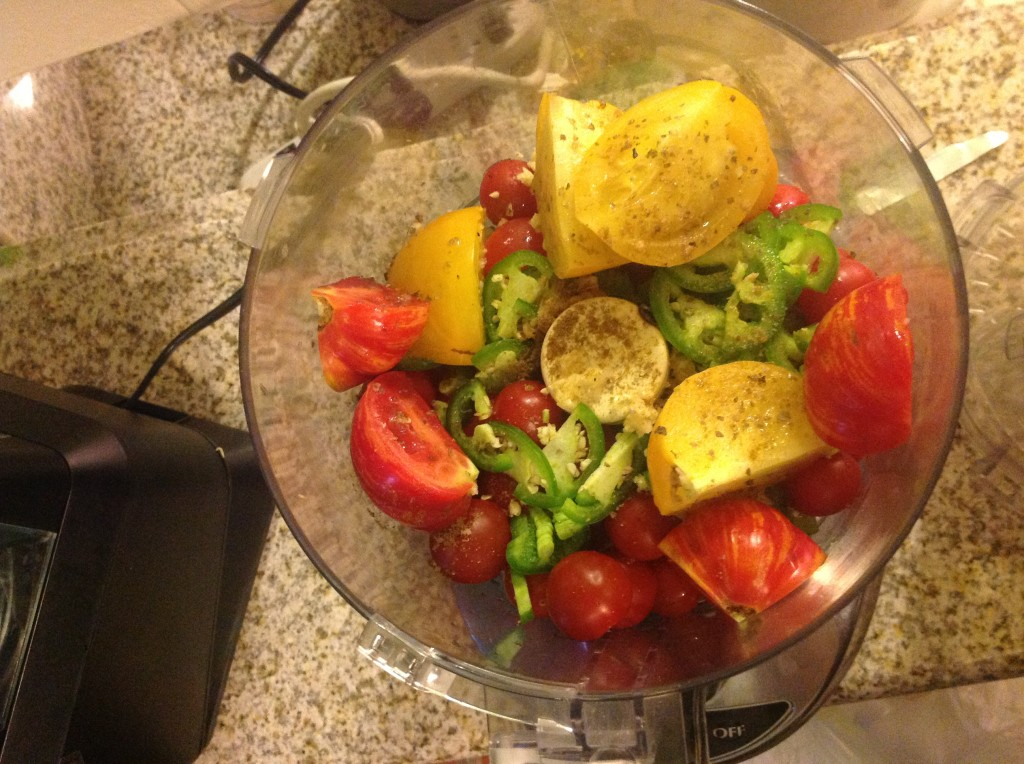 Tomato, Cumin, Jalapeno, Garlic in Food Processor