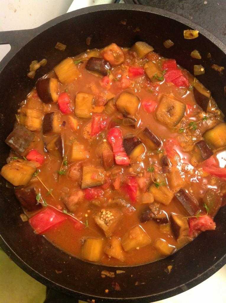 eggplant tomatoes thyme veggie stock