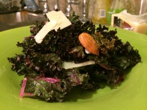 Simple Kale Almond Pecorino Salad with a Lemon Shallot Dressing