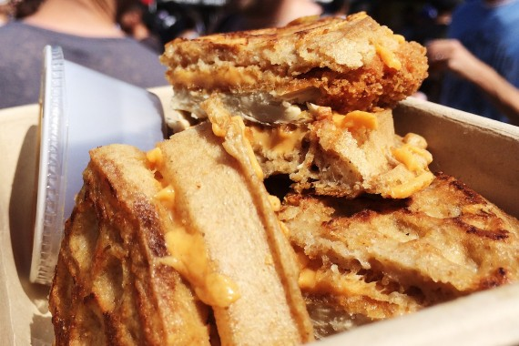 vegan chicken and waffle grilled cheese